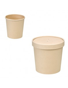 Envase de fibra de bambú con tapa. Varias medidas (500 Uds) Precio desde 0,32€/Ud