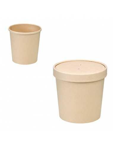Envase de fibra de bambú con tapa....