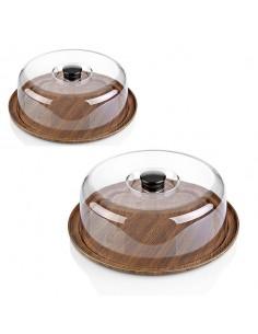 Set de bandeja y campana de poliestireno ø30,5x10,5 cm (6 Uds) Precio 25,41€/Ud