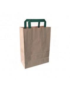 Bolsa pequeña de papel kraft reciclada asas verdes 20x10x28 cm (250 Uds) Precio 0,13€/Ud