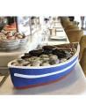 Bandeja en forma de barca para pescados y mariscos