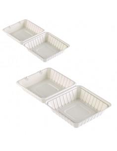 Caja de caña de azúcar con tapa bisagra biodegradable para comida