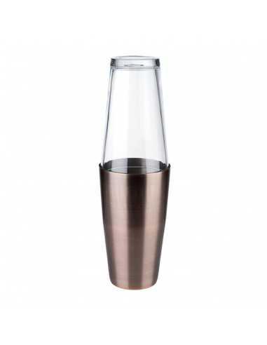 Coctelera Boston con vaso de acero inox color cobre mateado