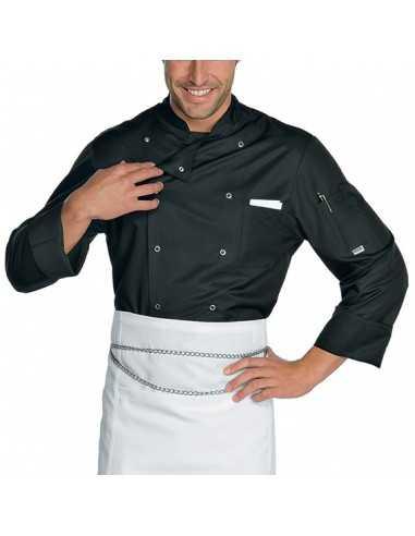 Chaqueta de cocina negra unisex cierre de corchetes