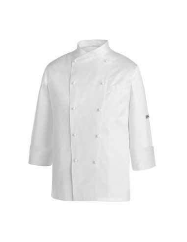 Chaqueta de cocina blanca unisex Gerard Piping