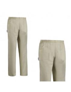 Pantalón de cocina unisex beige Tea Mix cintura de goma. Varias tallas (1 Ud)