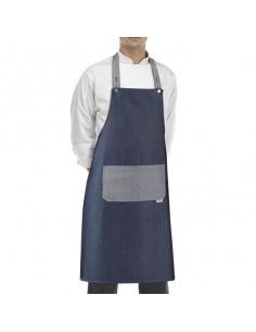 Delantal de cocina con peto unisex vaquero con bolsillo gris