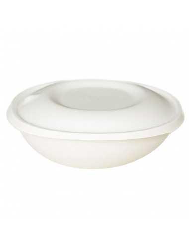 Bowl con tapa fabricado en pulpa de caña de azúcar biodegradable