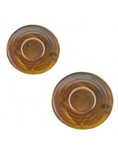 Plato pequeño para taza de expreso fabricado en porcelana y en color cobre rústico