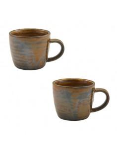 Taza para expreso de porcelana Terra, en color cobre rústico