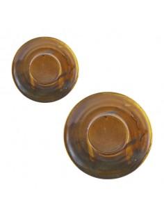 Plato para taza de café de porcelana color cobre rústico de la colección Terra.