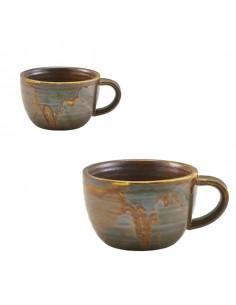 Taza para café de porcelana en color cobre rústico.