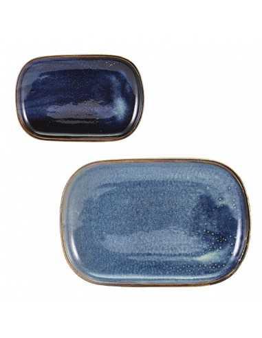Bandeja rectangular de pocelana colección Terra en color azul oscuro envejecido