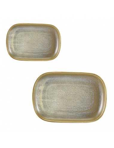 Bandeja rectangular de porcelana en color gris mate colección Terra Matt Grey