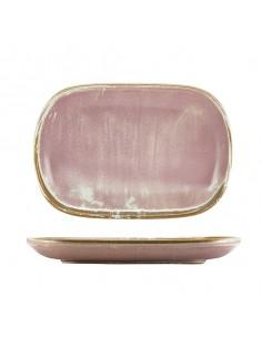 Bandeja rectangular de porcelana rosa colección de vajilla Terra