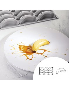 Molde de silicona en forma de banana 30x17,5 cm 12 cavidades (1 Ud)