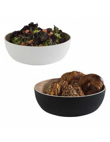 Bowl de melamina para buffet de 4,7 litros en blanco o negro con interior de roble