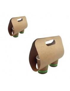 Portavasos de cartón kraft para 2 vasos 24x12,3x13,3 cm (400 Uds) Precio 0,20€/Ud