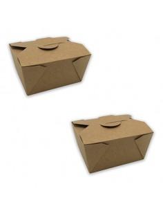 Caja cartón kraft para take away biodegradable. Varias medidas y unidades. Precio desde 0,29€/Ud