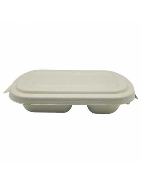 Envase con tapa de fibra de trigo con 2 compartimentos para delivery