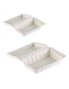 Caja con tapa bisagra de caña de azúcar para transportar comida