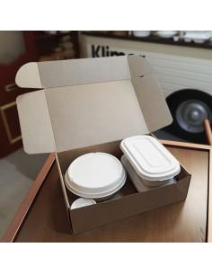 Caja mixta de cartón kraft para entregas microcanal. Varias medidas y unidades.