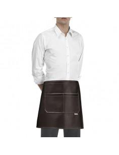 Delantal de cocina cintura unisex marron con 2 bolsillos