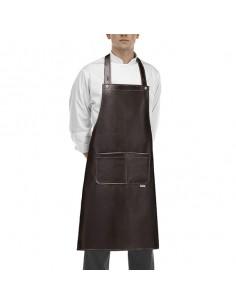Delantal peto cocina unisex Rock Jeans marrón bolsillo central. Talla única (2 Ud)
