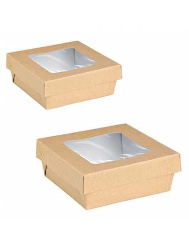 Caja de cartón kraft con ventana 13,5...