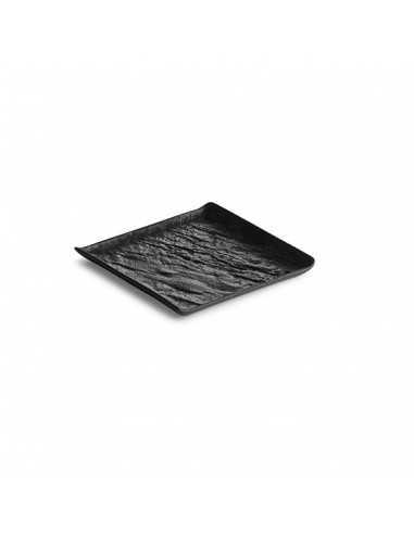 Bandeja cuadrada para servir de porcelana Livelli en masa negra