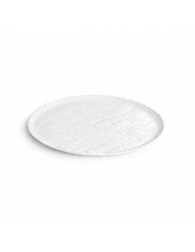 Plato de servir de porcelana colección Livelli en color blanco elegante