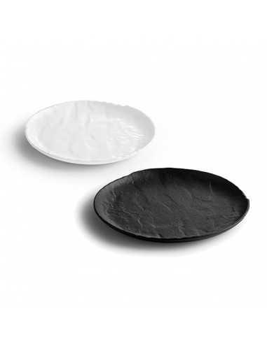 Plato llano de porcelana en masa en color negro o blanco textura rugosa colección Livelli