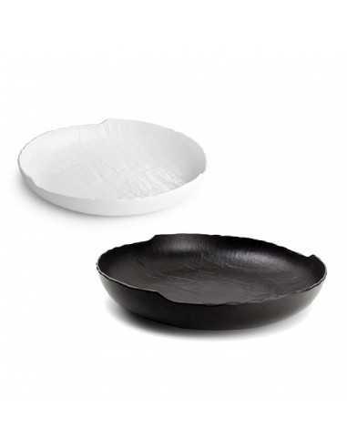 Plato hondo de porcelana colección Livelli en blanco o negro