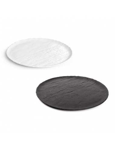 Plato de servir de porcelana colección Livelli en colores negro o blanco elegante