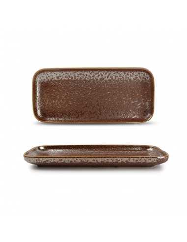 Fuente rectangular pequeña de porcelana Oxido Rusty garantía desportillamiento