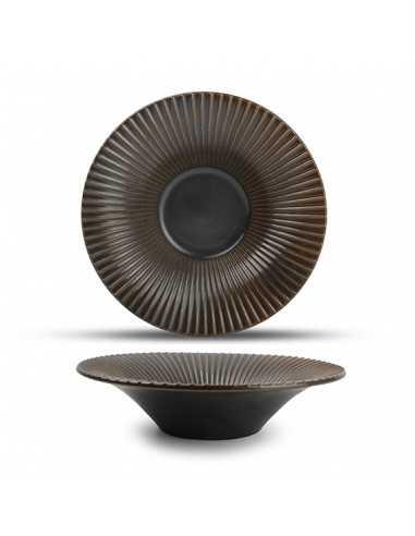 Plato hondo porcelana Striped Brass cobre ø20,5x5 cm