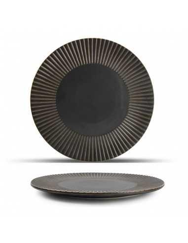 Plato llano porcelana Striped Brass cobre