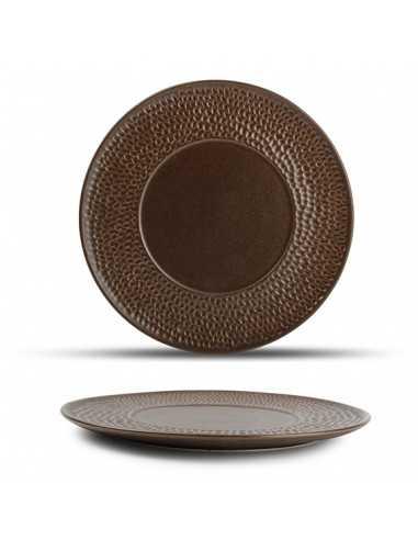 Plato llano de porcelana Brass cobre