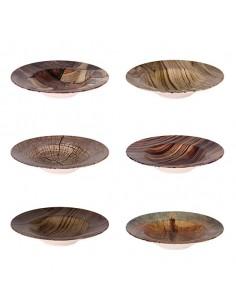 Plato de pasta porcelana imitación madera (12 Uds)
