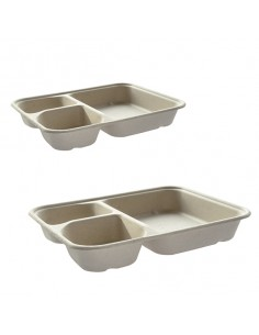 Bandeja para nachos caña de azúcar 3 compartimentos 16,5x21x3,5 cm (400 Uds)