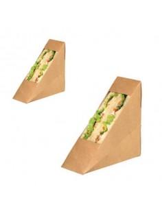 Caja kraft doble para sandwich con ventana PLA 12x5,5x12 cm (500 Uds)