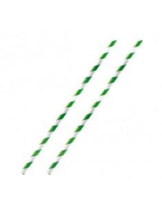 Pajita de papel verde y blanca 19,7x0,6 cm (500 Uds)