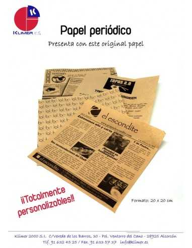 Papel de periódico kraft personalizado 20 x 20 cm (1000 Uds) Precio unitario 0,21€