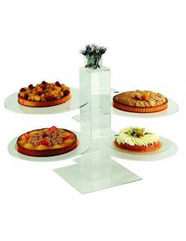 Soporte de pastel transparente 4 platos.