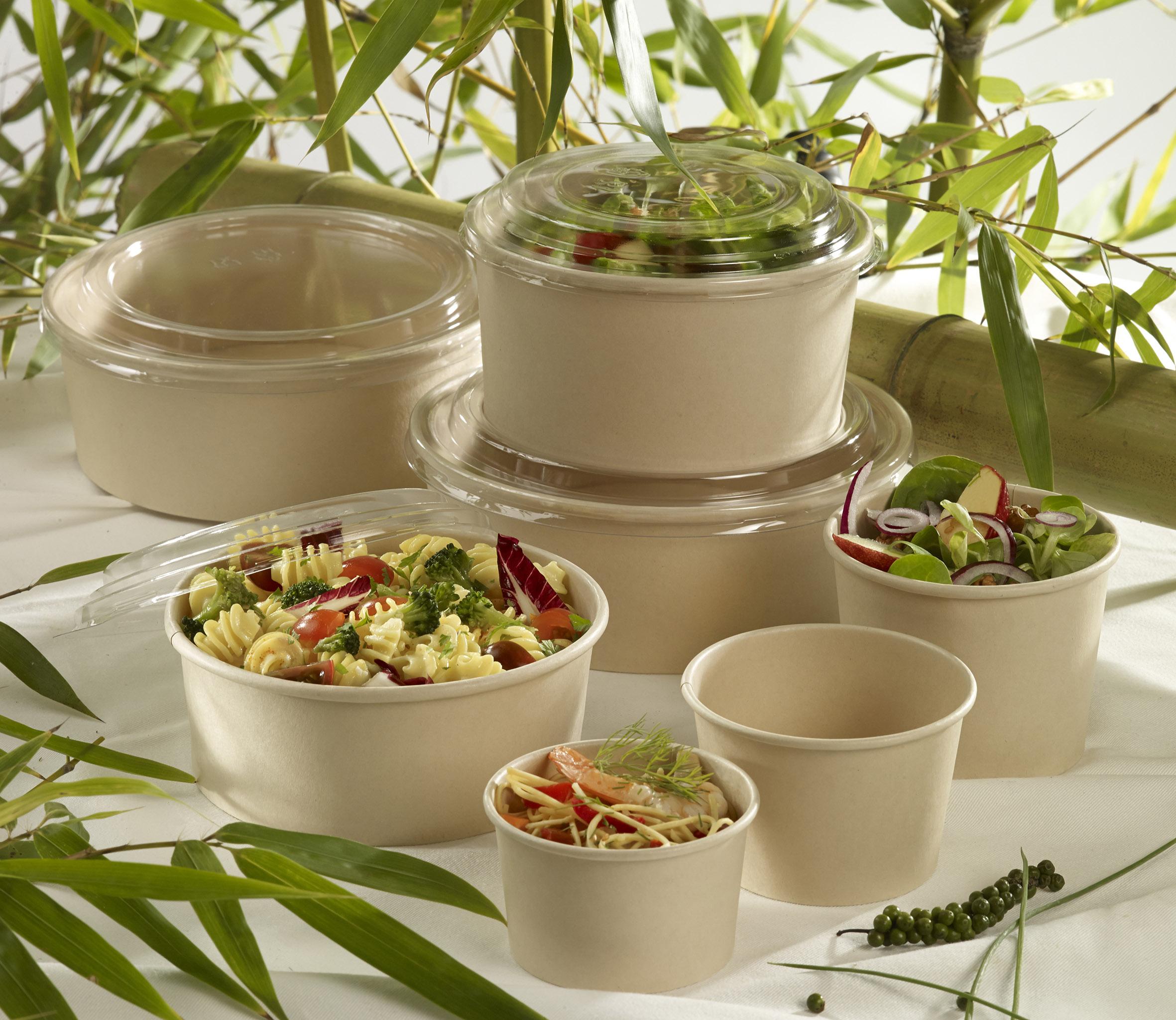 Envases de bambú y pla para take away