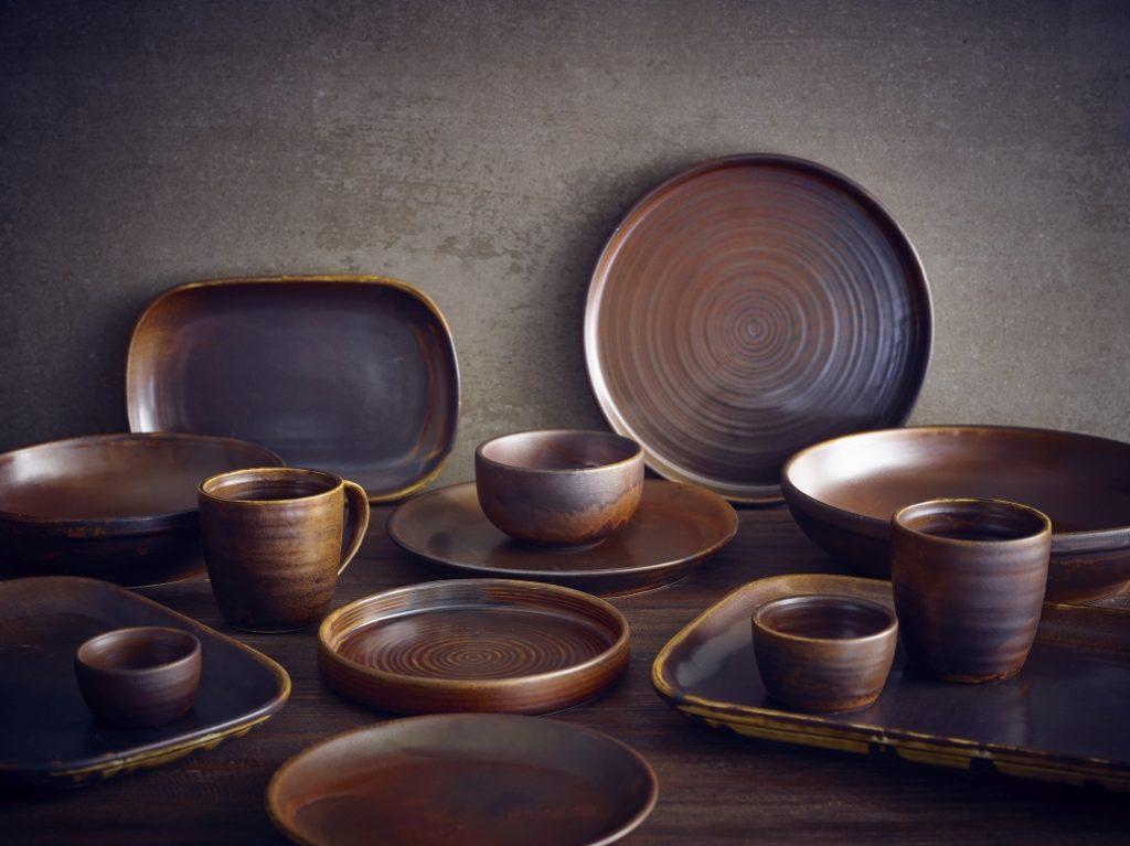 Rustic Copper, colección vajilla de porcelana