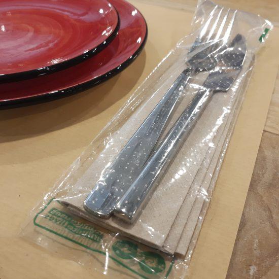 Bolsa para cubiertos biodegradable con cierre de seguridad